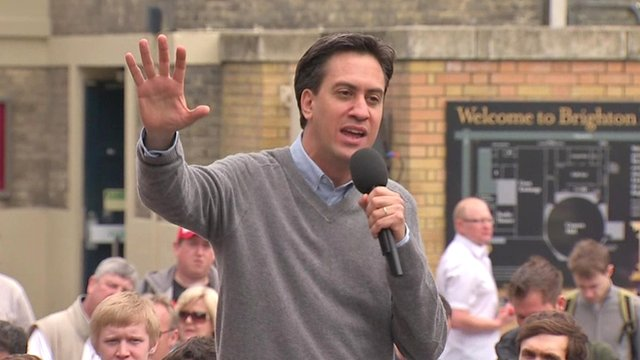 Ed Miliband speaking in Brighton
