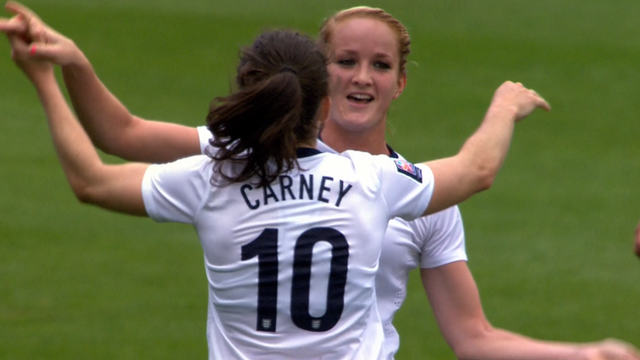 Karen Carney scores a spectacular goal in England's World Cup qualifier against Belarus in Bournemouth.