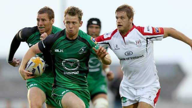 Action from Connacht against Ulster in the Pro12 at The Sportsground in Galway
