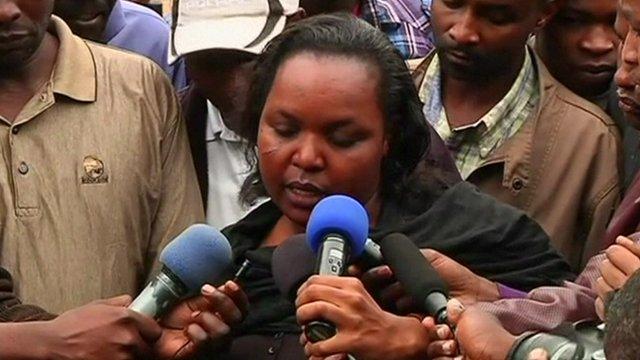 Woman describing escape from Naiorbi shopping centre