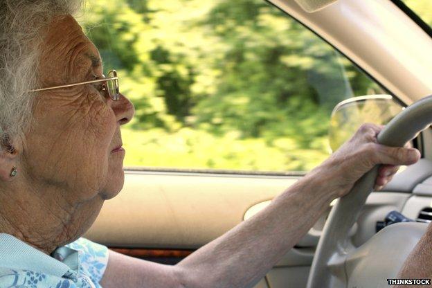 Elderly woman driving