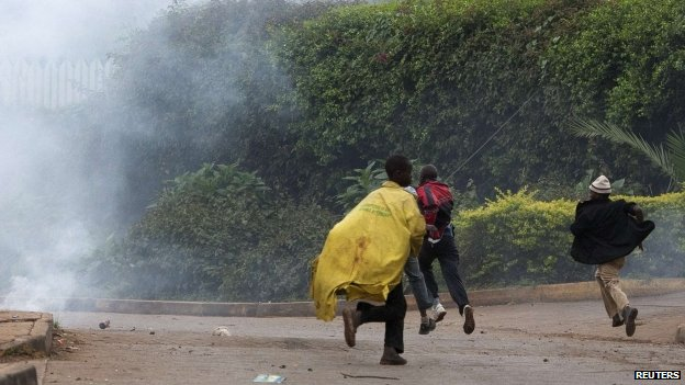 People near Westgate run as police fire tear gas to disperse crowds