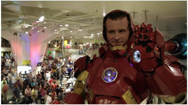 Man dressed up in homemade Iron Man costume