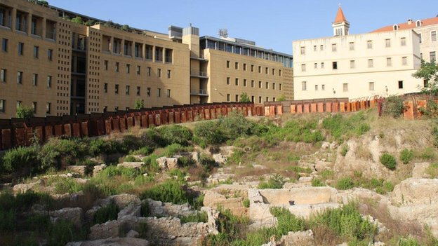 Remains believed to be from a hippodrome, with surrounding buildings in background, Beirut