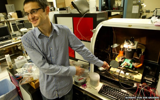 Max Shulaker with Cedric, the world's first carbon nanotube computer