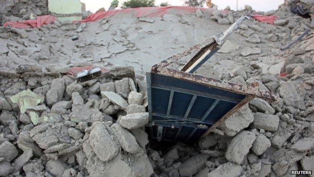 Rubble of a house in Awaran, Balochistan, on 25 September 2013