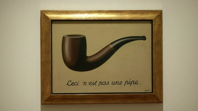 Magritte painting of a pipe with writing underneath saying this is not a pipe in French