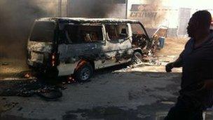 Burning vehicle in Mombasa