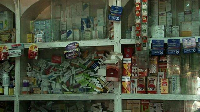 Nigerian pharmacy shelves