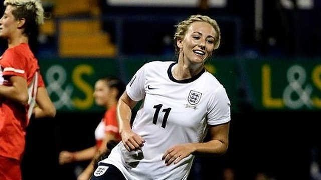 Toni Duggan of England celebrates scoring against Turkey