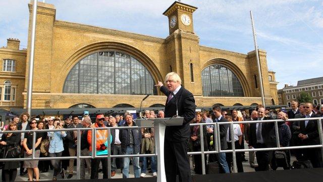 Boris Johnson in King's Cross square