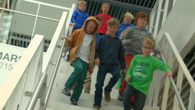 Children walking to class in Iceland