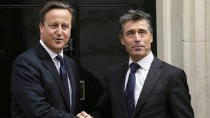 David Cameron meets Nato secretary general Anders Fogh Rasmussen