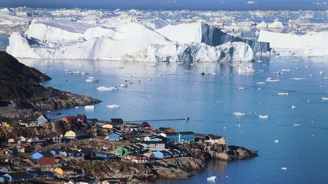 Icebergs near village of Ilulissat, Greenland