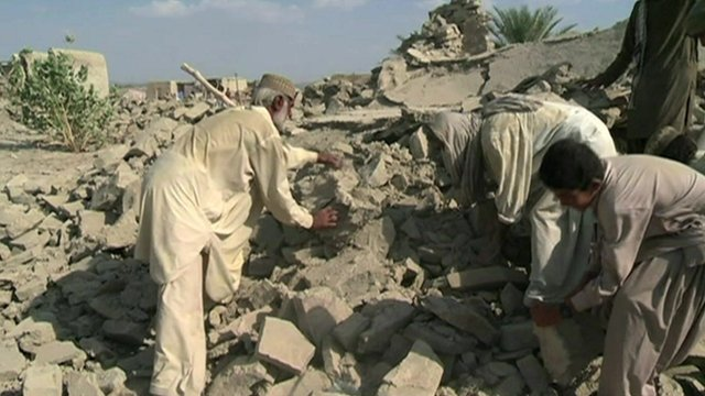 Villagers dig for survivors