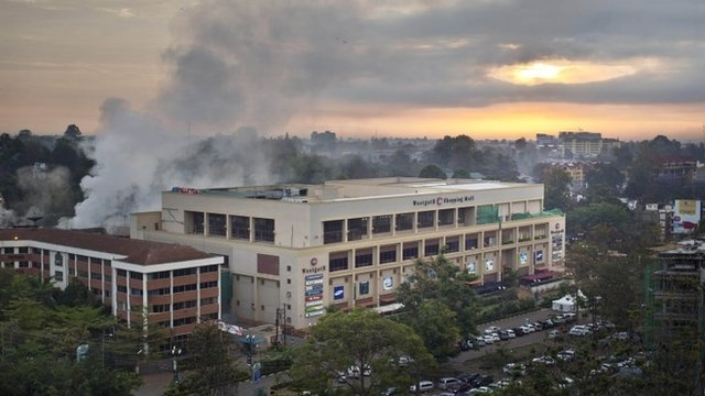 Dawn breaks over the still-smoking Westgate Mall in Nairobi, Kenya,