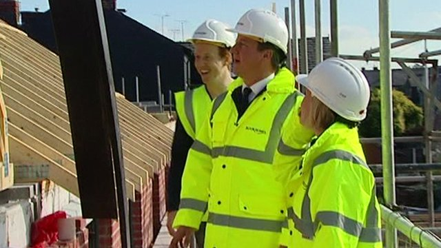 David Cameron on a new homes building project