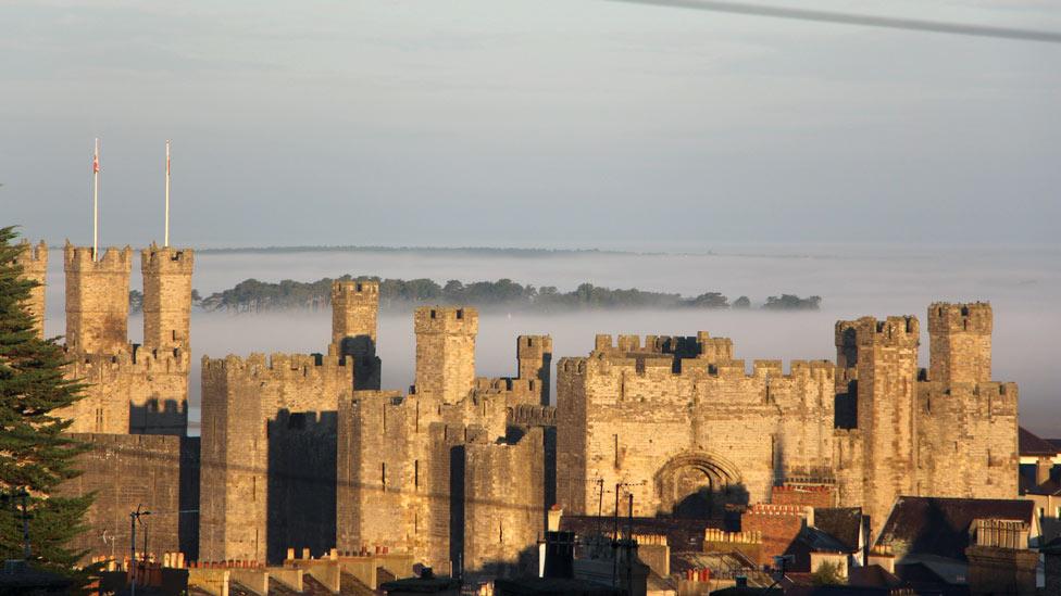 Caernarfon Castle in mist