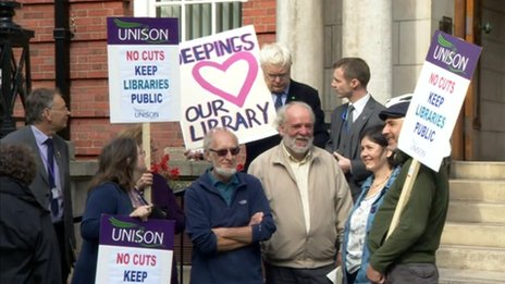 Campaigners outside County Hall