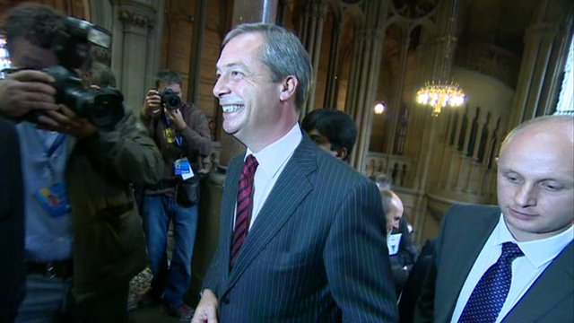 Nigel Farage at the Conservative party conference in Manchester