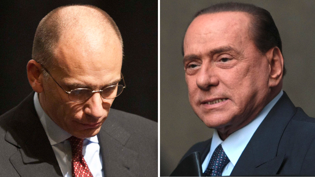 Enrico Letta and Silvio Berlusconi