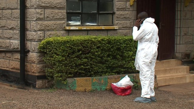 A worker at a Nairobi City Morgue, where the bodies of victims of the Westgate Mall terrorist attack have been brought