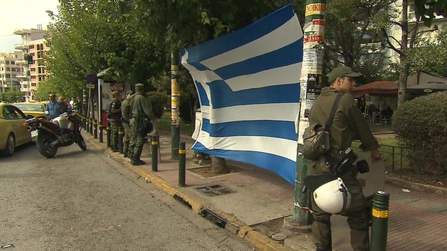 Greek flag opposite court in Athens