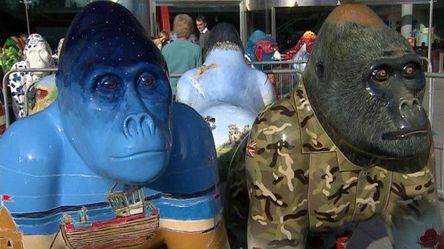 Go Go Gorillas wait at The Forum, Norwich, for auction
