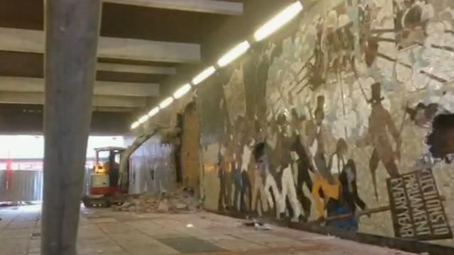 Digger demolition mural