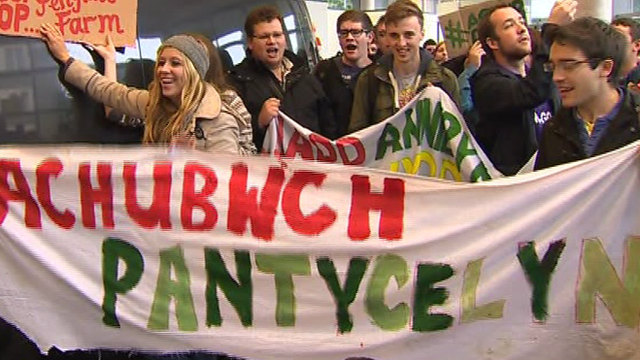 Students protesting in Aberystwyth