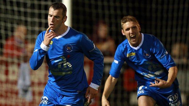 Ballinamallard scorer Ryan Campbell celebrates his goal against Ballymena United