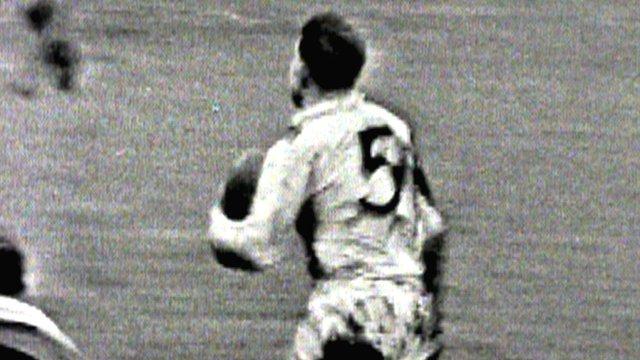 Great Britain's Mick Sullivan scores against Australia at Odsal