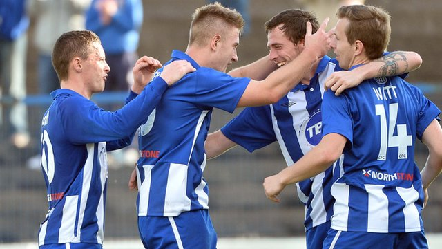 Coleraine players celebrate victory over Ards in the Irish Premiership