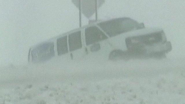 Van stuck in snow