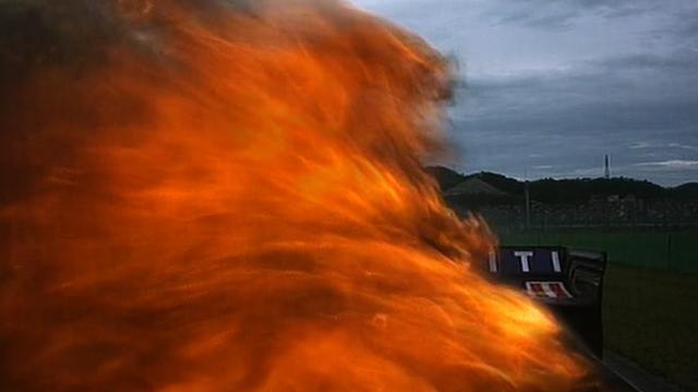 Mark Webber's Red Bull catches fire at Korean GP