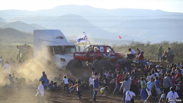 A monster truck rams into spectators during a monster truck rally show at El Rejon park, on the outskirts of Chihuahua.