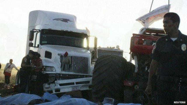 Aftermath of monster truck crash