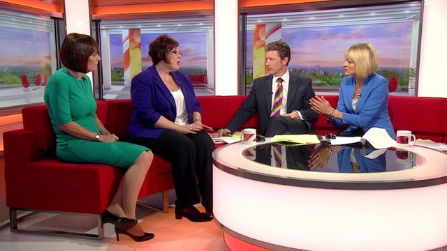 Clare Pelham from Leonard Cheshire Disability and Sandie Keene from the Association of Directors of Adult Social Services on BBC Breakfast