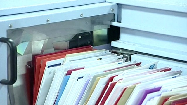 Letters in sorting machine