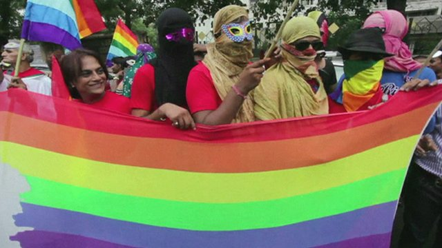 Members of the LGBT community at the Pride March in Gujarat