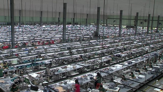Workers in a large factory in Myanmar