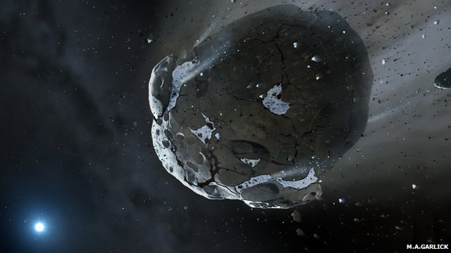 Artist's impression of an asteroid being torn apart