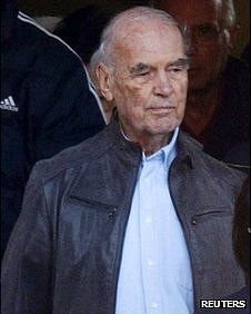 Convicted former Nazi SS captain Erich Priebke leaves after attending a mass at a church in northern Rome October 17, 2010.