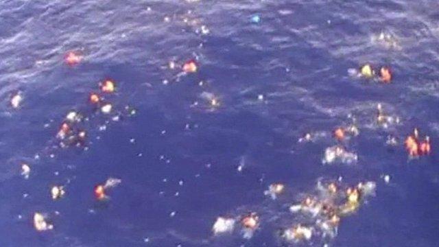 Aerial view of people in water