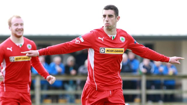 Cliftonville's Joe Gormley celebrates scoring against Ballinamallard at Ferney Park