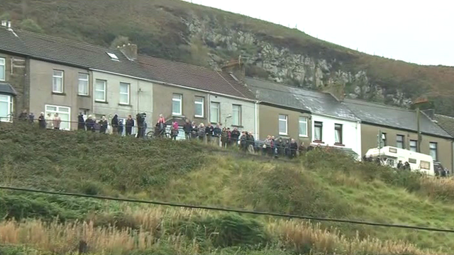 People line the street in Senghenydd