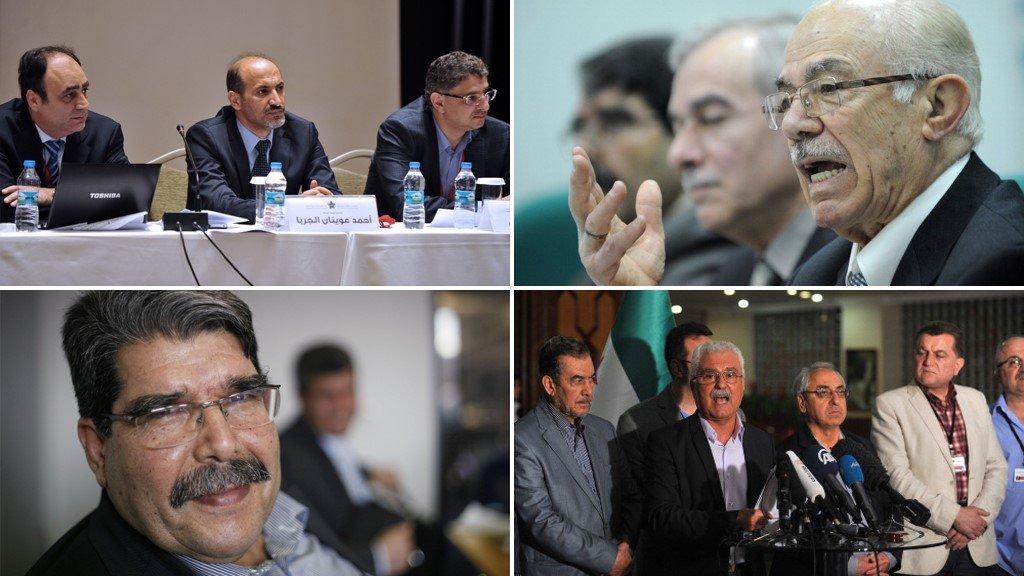 From left: Syrian rebels, the recognised ambassador to Geneva, political leader Moaz al-Khatib