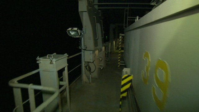 The deck of a container ship
