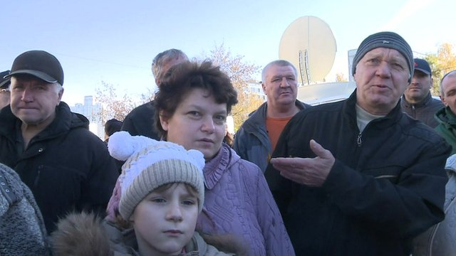 Local residents in southern Moscow