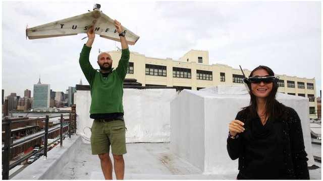 Georgi and Nina Tushev with a homemade drone